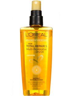 Dimethicone and olive and coconut oils in L'Oréal Paris Advanced Haircare Total Repair 5 Multi-Restorative Dry Oil fight frizz and escalate shine