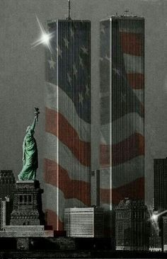 This picture is related to the event of september 2001 because the twin towers are covered in the United States Flag because the twin towers were such a huge part of the united states and when the event happened the united states hurt. American Freedom, American Spirit, American Pride, American History, American Flag, I Love America, God Bless America, Edificio Woolworth, 911 Never Forget