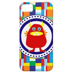 Cute Red Monster on Colorful Patchwork Blocks iPhone 5 Cover