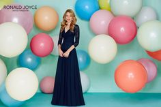 elegant bridesmaid dress with soft laced bodice and a silky satin skirt. Elegant Bridesmaid Dresses, Bridal Dresses, Prom Dresses, Formal Dresses, Bridesmaids, Designer Wedding Dresses, Wedding Gowns, Ronald Joyce, Evening Dresses With Sleeves
