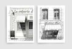 Two Black and white illustrations  ANY two black and by tubidu