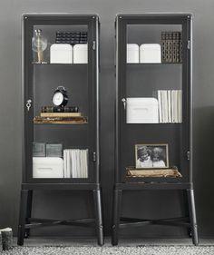 FabrikÖr Glass-door Cabinet, Dark Gray