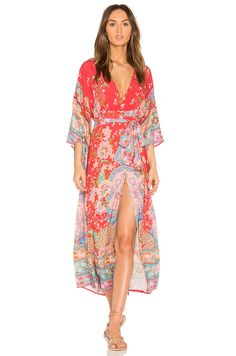Spell & The Gypsy Collective Lotus Kimono Gown in Ruby | REVOLVE