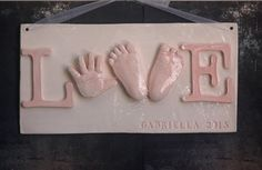 Baby Hand and footprint Keepsake Plaque  by TheBabyHandprintCo