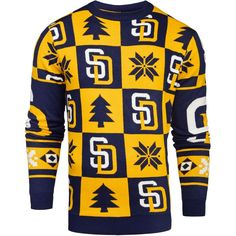 San Diego Padres Patches Ugly Pullover Sweater - Navy