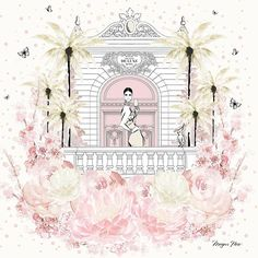 The design for my first sleepwear collection for @papinellesleepwear - it's called HOTEL DE LUX - a floating hotel of luxury, your own private balcony surrounded by peonies and palms with a private suite and a glass of champagne of course!
