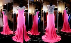 Pink Prom Dress - High Neckline - Crystal Low Back 115EC0152020435