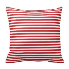 Red and White Nautical Stripes Pillow