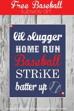 Baseball Subway Art - FREE Printable available at createcraftlove.com