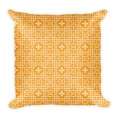 CHINESE GEOMETRIC PATTERN (ORANGE, CREAM) PILLOW