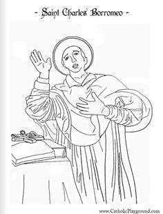 Saint Charles Borromeo Catholic coloring page
