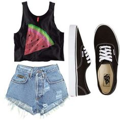 watermelon graphic crop top, high waisted shorts, black vans outfit