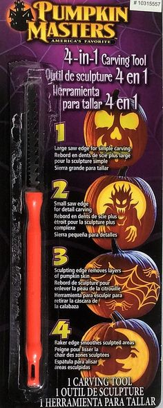 - Large saw edge for simple carving - Small saw edge for detail carving - Sculpting edge removes layers of pumpkin skin - Raker edge smooths sculpted areas Caution: This is not a Toy. Read all instruc Pumpkin Carving, Carving Pumpkins, Pumpkin Masters, Small Saw, Carving Tools, Halloween Pumpkins, Simple, Sculpting, Goodies