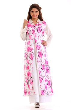 Look fresh and composed in this cream front open georgette satin kurta. The trending A-line style, floral prints and stand collar completes the polish look. Pakistani Suits, Polished Look, Mix N Match, Kurtis, Style Guides, Bliss, Floral Prints, Satin, Style Inspiration