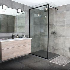 A black slim framed BORDER shower screen by Drench #ShowerSinks