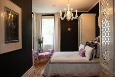 black walls done right w/lots of white surrounding them...