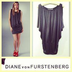 Diane von Furstenberg $298 'Azahar' metallic gray drapey jersey dress sz.M/L; RR Price: $140 www.resalerichesnyc.com