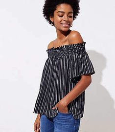 Loft Striped Smocked Off The Shoulder Top. Bold stripes are a tomboy-chic twist for this fluttery and flowy off-the-shoulder top. #fashion #offtheshoulder  #affiliate