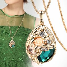 Find More Pendant Necklaces Information about New Brand Long Necklace Gold Plated Popcorn Chain Austrian Crystal Jewelry Pendant Necklaces Women Gift Rose Flower Necklace,High Quality necklace fringe,China necklace tennis Suppliers, Cheap necklace tooth from ora Jewelry on Aliexpress.com
