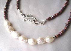 Necklace of freshwater pearl, silver & shimmering taupe glass seed beads. Simple, delicate, and boho.  White, brown, and grey jewelry by WildThingsAdornments on Etsy https://www.etsy.com/listing/201625263/necklace-of-freshwater-pearl-silver