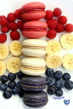 This might be good a color scheme for a Fourth of July gathering. French Macarons, raspberries, banana slices, and blueberries.