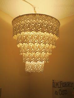 Venise Lace Faux Chandelier Pendant Lamp Shade 'Off White'. $30.00, via Etsy.