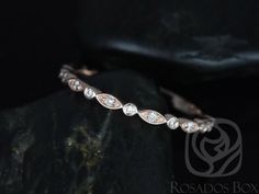 Rosados Box Ultra Petite Bead & Eye 14kt Rose Gold Vintage WITHOUT Milgrain Diamond ALMOST Eternity Band by RosadosBox on Etsy https://www.etsy.com/listing/207431116/rosados-box-ultra-petite-bead-eye-14kt