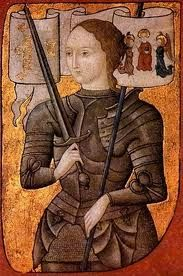 Joan of Arc; heroine of France,(and betrayed by the Dauphine after she restored him to power) Western saint, burned at the stake (by the English) at 19 years old.