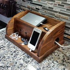 Rustic Docking Station by DerbyWoodworks on Etsy Woodworking Bench Plans, Woodworking Projects That Sell, Woodworking Jobs, Woodworking For Kids, Woodworking Basics, Woodworking Jointer, Youtube Woodworking, Woodworking Equipment, Woodworking Machinery