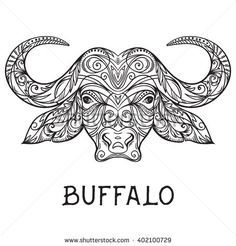 Animals With Horns, Buffalo Art, African Buffalo, Kunst Tattoos, Doodle Coloring, Etsy Business, Dot Painting, Drawing Reference, Illustration