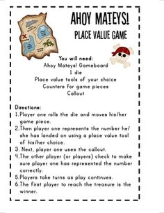 Here's a pirate-themed place value board game.
