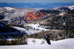 Come to Brian Head, UT to ski! =) some beautiful back drops with the red rock covered in snow