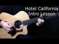 """how to play """"Hotel California"""" intro on guitar by The Eagles Electric Guitar Lessons, Basic Guitar Lessons, Guitar Lessons For Beginners, Music Lessons, Electric Guitars, Acoustic Guitar Case, Acoustic Guitar Lessons, Guitar Tips, Fender Acoustic"""