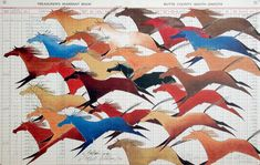 Ledger Art: More than a Few, Native American drawing of a herd of colorful horses.