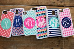 Monogrammed phone cases at www.ginnymaries.com - LOTS of patterns to choose from!!!