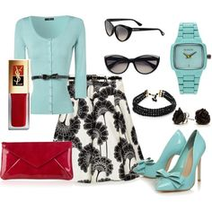 Aqua & Black, created by luchenskil on Polyvore  not quite my style but I love the colors esp the touch of deep red :)