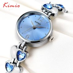 KIMIO Brand Magic Luxury Crystal Watch Gift Heart Stainless Steel Woman Fashion OL Lady Commercial Watches Relogio Feminino