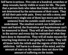 Self harm is serious, I wish I knew how to help my sister get past this. At the same time I know why she does it & I can't say I blame her. :(