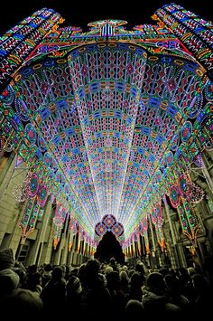 2012, February: A cathedral made of 55,000 LED lights at the Luminarie de Cagna in Ghent, Belgium.   (Only uses 20 kilowatts of energy).