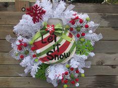 22 Burlap Christmas Ornament Wreath Let It by CreativeSpacesbyGina
