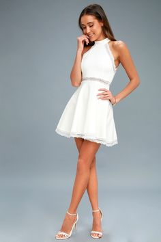 The Reach Out My Hand White Lace Skater Dress will be there for any fashion emergency! Stretch knit skater dress with sheer lace accents. White Dresses For Women, Little White Dresses, Cute Dresses For Juniors, Knit Dress, Lace Dress, Classy White Dress, Edgy Dress, Hoco Dresses, White Homecoming Dresses