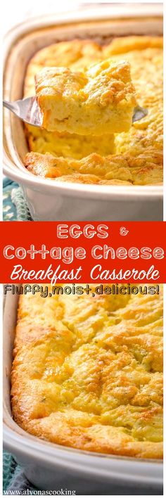 egg meals This breakfast casserole with eggs and cottage cheese takes eggs to a whole different level! It's fluffy, moist, cake-y, cheesy and so, so DELICIOUS! A family staple breakfast casserole! Breakfast For A Crowd, Breakfast Dishes, Breakfast Time, Best Breakfast, Breakfast Recipes, Breakfast Ideas, Egg Recipes, Cooking Recipes, Recipies