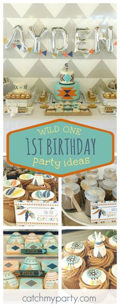 Don't miss this awesome Wild One Boho Tribal 1st birthday party. The boho cupcakes are awesome!! See more party ideas and share yours at CatchMyParty.com