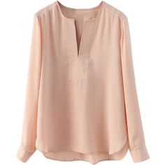 Choies Pink V-neck Long Sleeve Chiffon Blouse featuring polyvore, fashion, clothing, tops, blouses, shirts, long sleeves, pink, chiffon blouse, chiffon top, chiffon shirt, pink shirt and longsleeve shirts