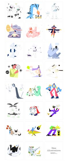 A growing collection of open-source illustrations for your page-not-found message. Choose a scene to inform the user of the error occurred with futuristic elements and cute characters. All scenes are compatible with Sketch and Figma. Sketch Free, Popee The Performer, Cute Characters, Free Illustrations, Character Design, Template, Store, Ideas, Larger