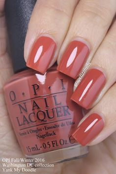 OPI: ❤ Yank My Doodle ❤ . a gorgeous copper cream nail polish / lacquer from OPI Washington DC Collection for Fall/Winter 2016 Fall Nail Art, Fall Nail Colors, Nail Polish Colors, Autumn Colours, Winter Colors, Colorful Nail Designs, Nail Art Designs, Nails Design, Toe Nail Designs For Fall