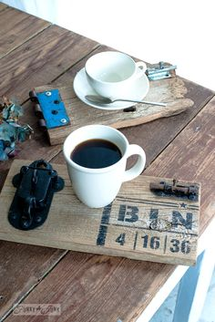 Reclaimed wood gate coasters for a bigger coffee adventure / with BINGO : Funky Junk's Old Sign Stencils : funkyjunkinteriors.net  (bits and pieces put together for the coasters.. how cool!)