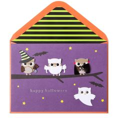 Wish friends and family a day full of tricks and treats with this adorable Halloween card. Costumed owls perch on a tree branch under a starry purple sky. Each owl is handmade with fabric, felt, stitching and other unique details.