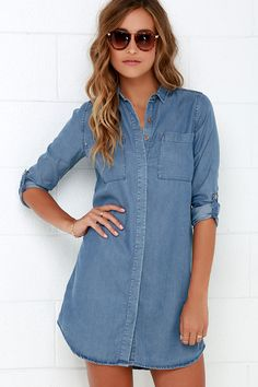 Chambray Shirt Dress /Tunic  ///