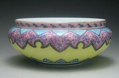 Fabulous Large English Webb Moroccan Pattern Art Glass Enameled Console Low Bowl